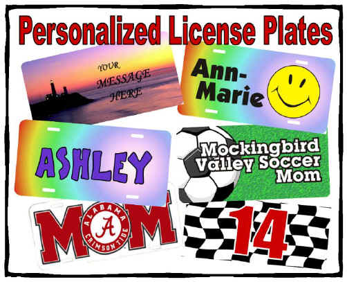 Novelty license plates personalized for Md fishing license cost